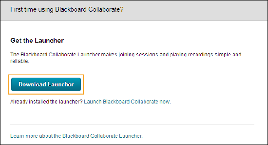 First time using Blackboard Collaborate? pop-up