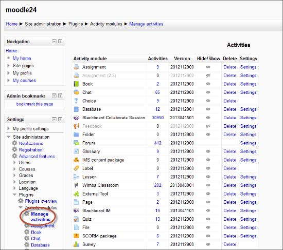 Configure the Blackboard Collaborate Moodle Module for Web