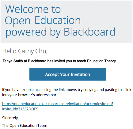 create your instructor account in blackboard open education