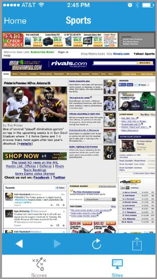 Image illustrating a sports section on the mobile app
