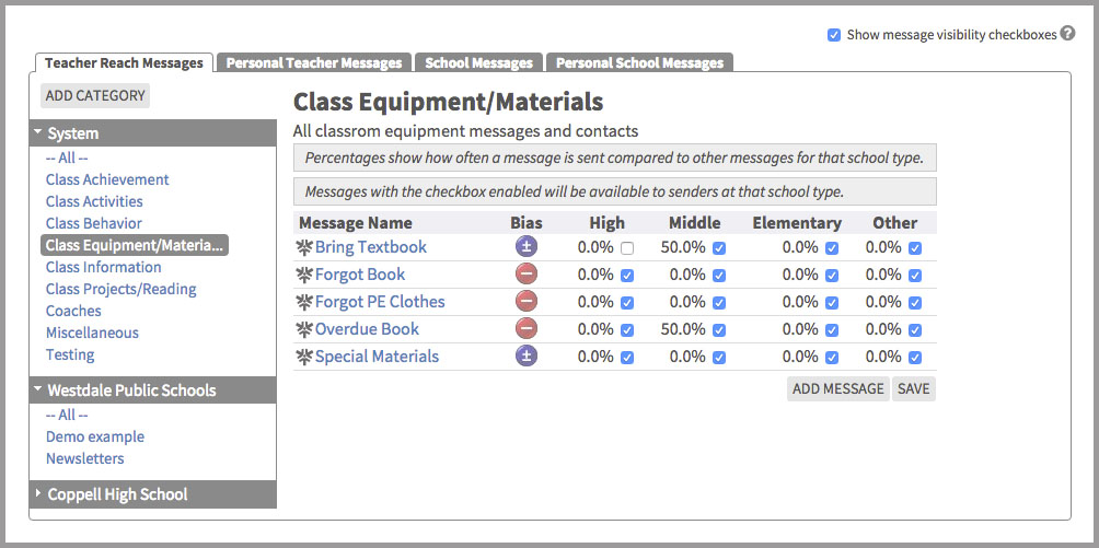 Image illustrating the set visibility options for different types of schools