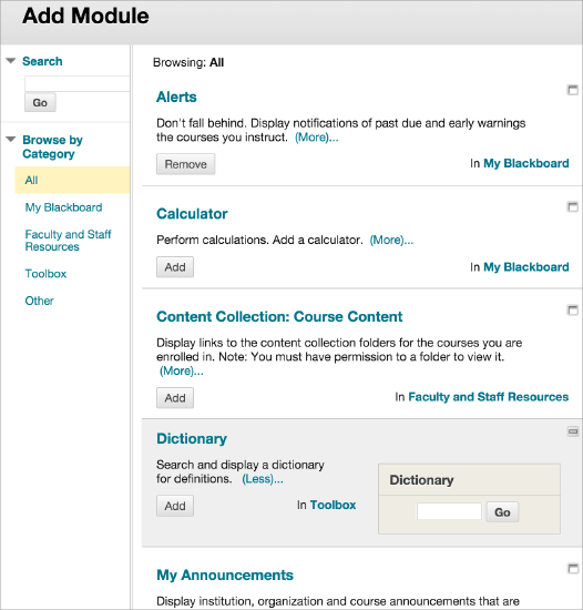 how to add courses on blackboard