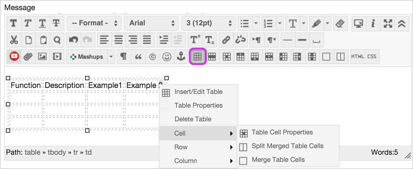 Add Tables Blackboard Help