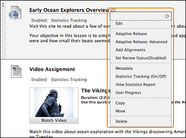 Navigate inside a course blackboard help examples of items with menus include content items course menu links and grade center columns the options in the menu vary based on the component sciox Images