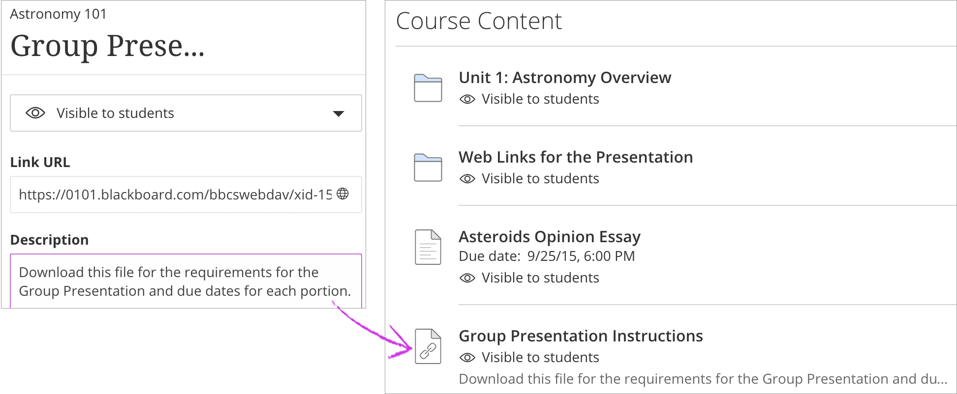 ultra link to items in the content collection blackboard help create a link to a file or folder