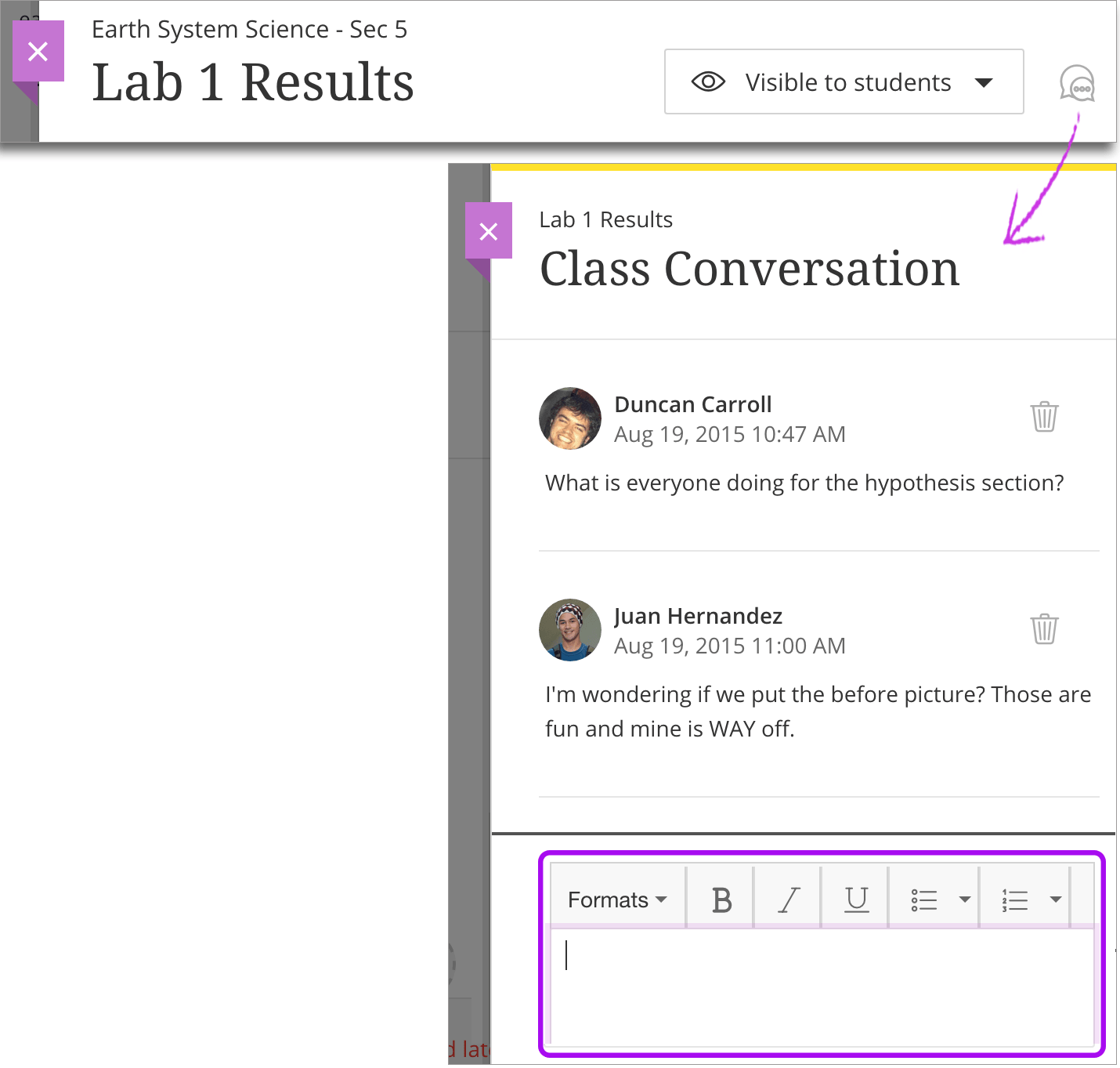 create and edit assignments blackboard help to view the conversation select the speech bubble icon in the assignment s row on the course content page you can also access the conversation in the