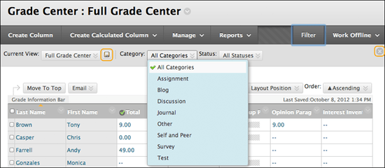 Blackboard Learn: Grade Center (Exporting to Excel)