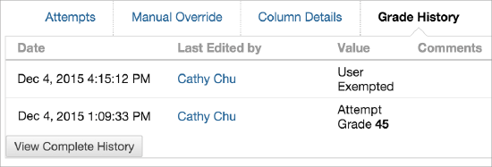 Screenshot of Grade History tab