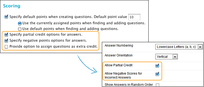 the partial credit option doesnt appear for pools and surveys