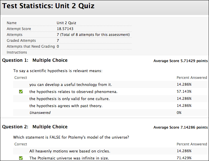 Test and Survey Results | Blackboard Help