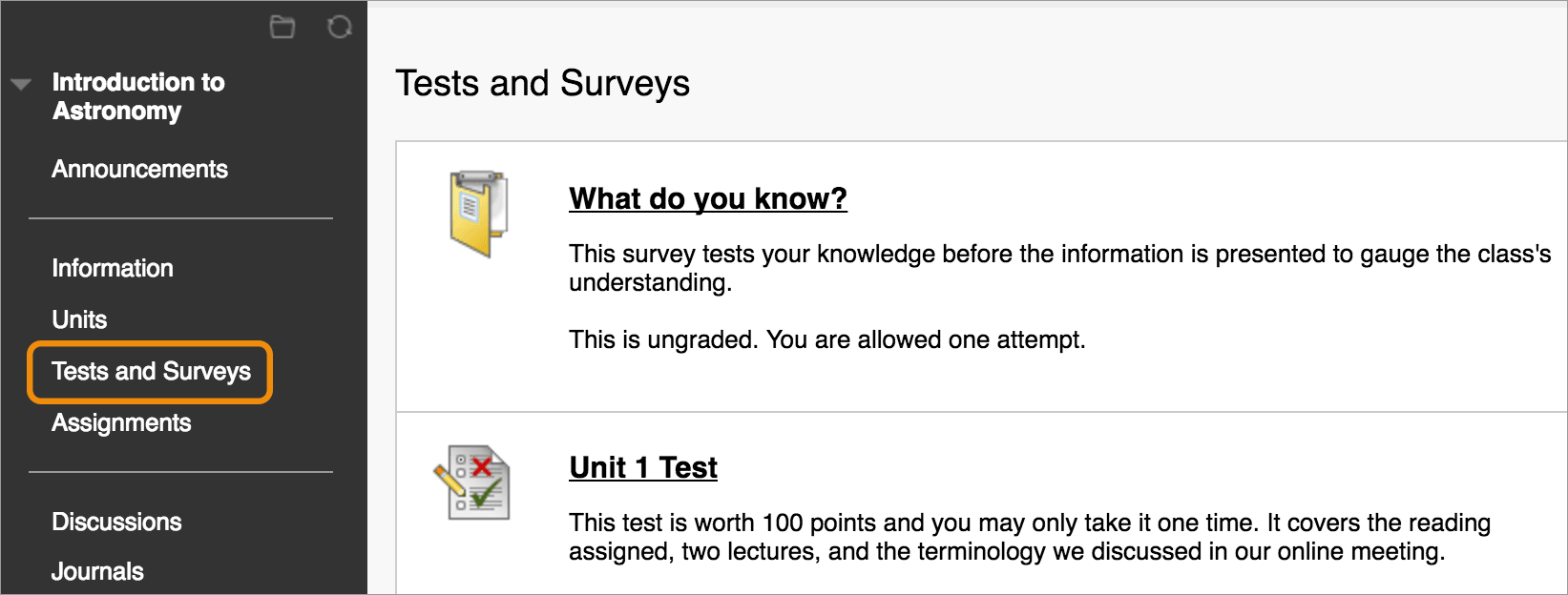 Tests and Surveys | Blackboard Help
