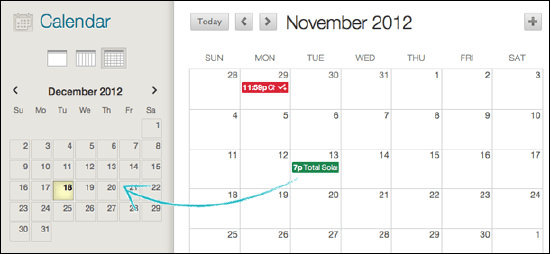 you can also select and drag an event from the main view to another date on the smaller monthly view to change the date