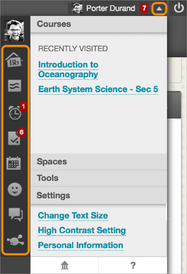 Screenshot of user drop-down menu in blackboard. All icons are highlighted.