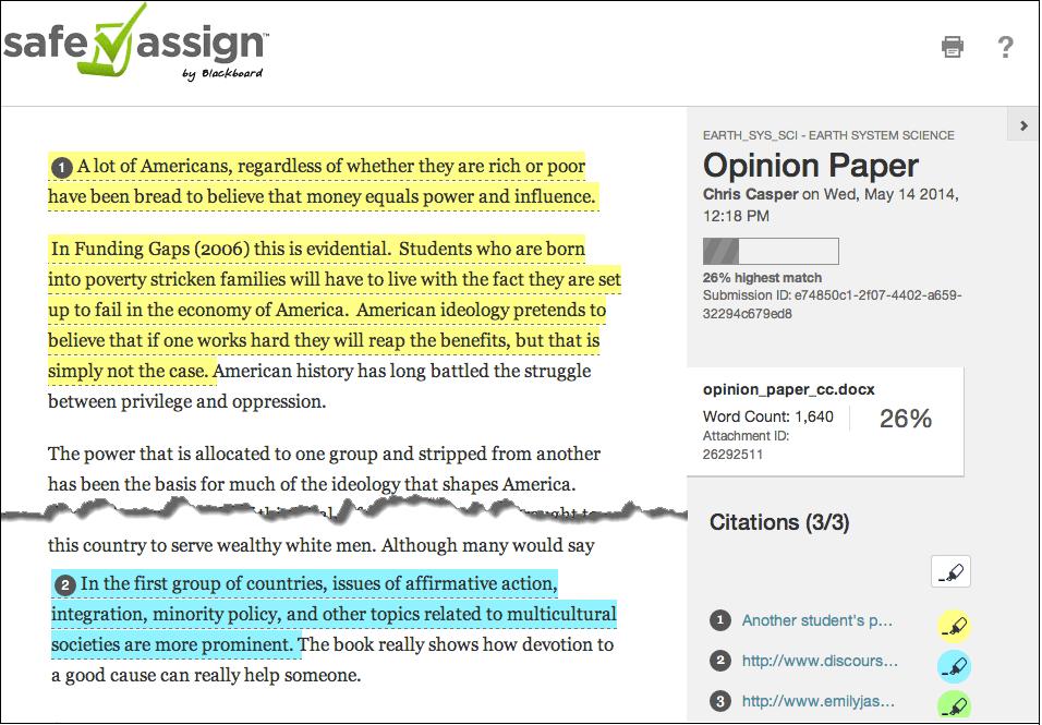 Safeassign Originality Reports  Blackboard Help Report Layout
