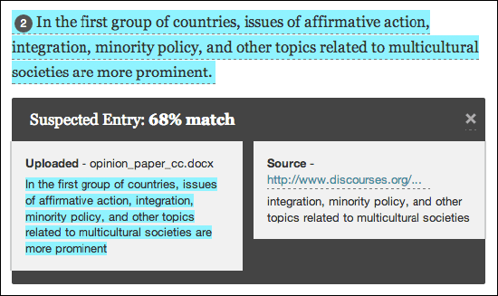 safeassign report percentage