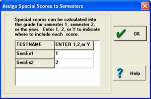 Assign special scores