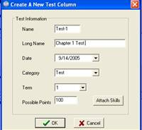 Create a test column in the spreadsheet