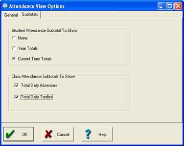 Subtotals tab view options