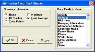Choose Birthday data to view