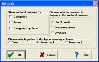 Use the menu to view semester or year