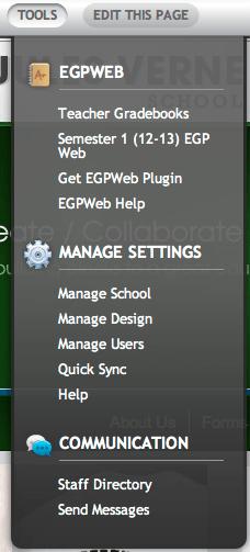 Tools Menu EGP Web Plugin