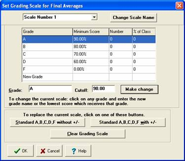 Set grade scale options