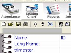 Seating chart icon on the toolbar