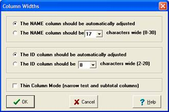 Set column widths for name and ID