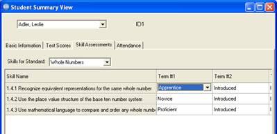 Skills assessments tab