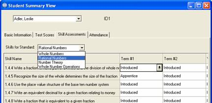 Choose assessment from drop down list