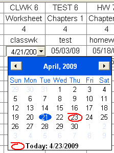 Pick a date from the drop-down calendar