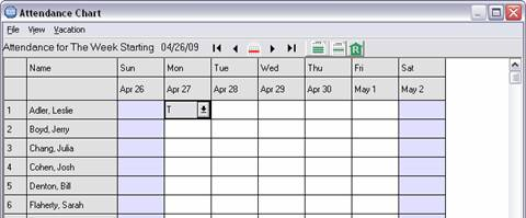 Choose weekly attendance report from the toolbar