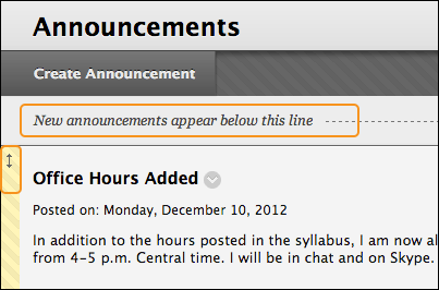 announcements blackboard help