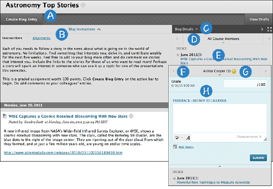 Blog content frame and blog entries