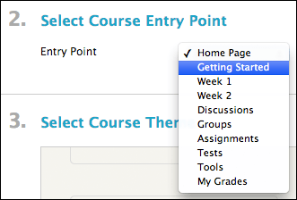 screenshot showing select course entry point drop-down