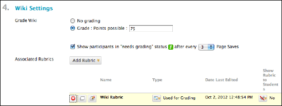 """Wiki Settings page that shows the option for a 'Grade Wiki"""" grades, adding a rubric, and writing a rubric."""