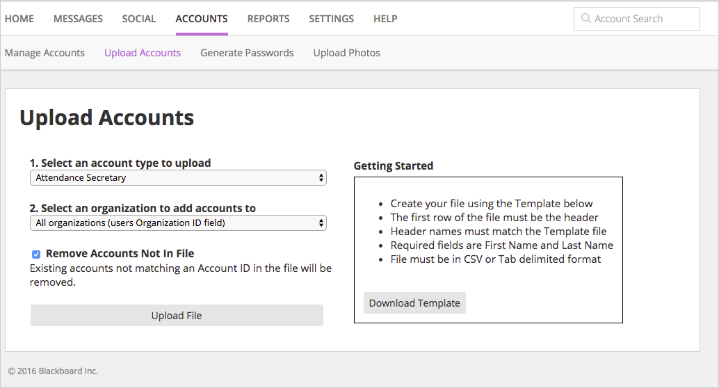upload accounts from files blackboardヘルプ