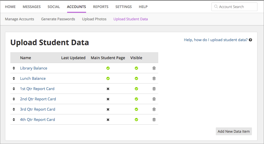 Picture of Upload Student Data page