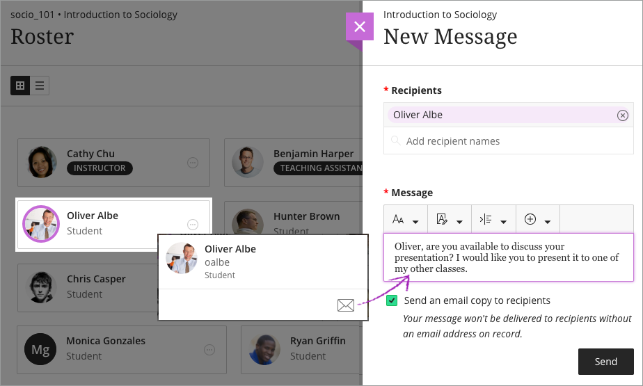 how to send private message on blackboard