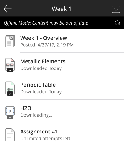 offline content in the blackboard app blackboard help