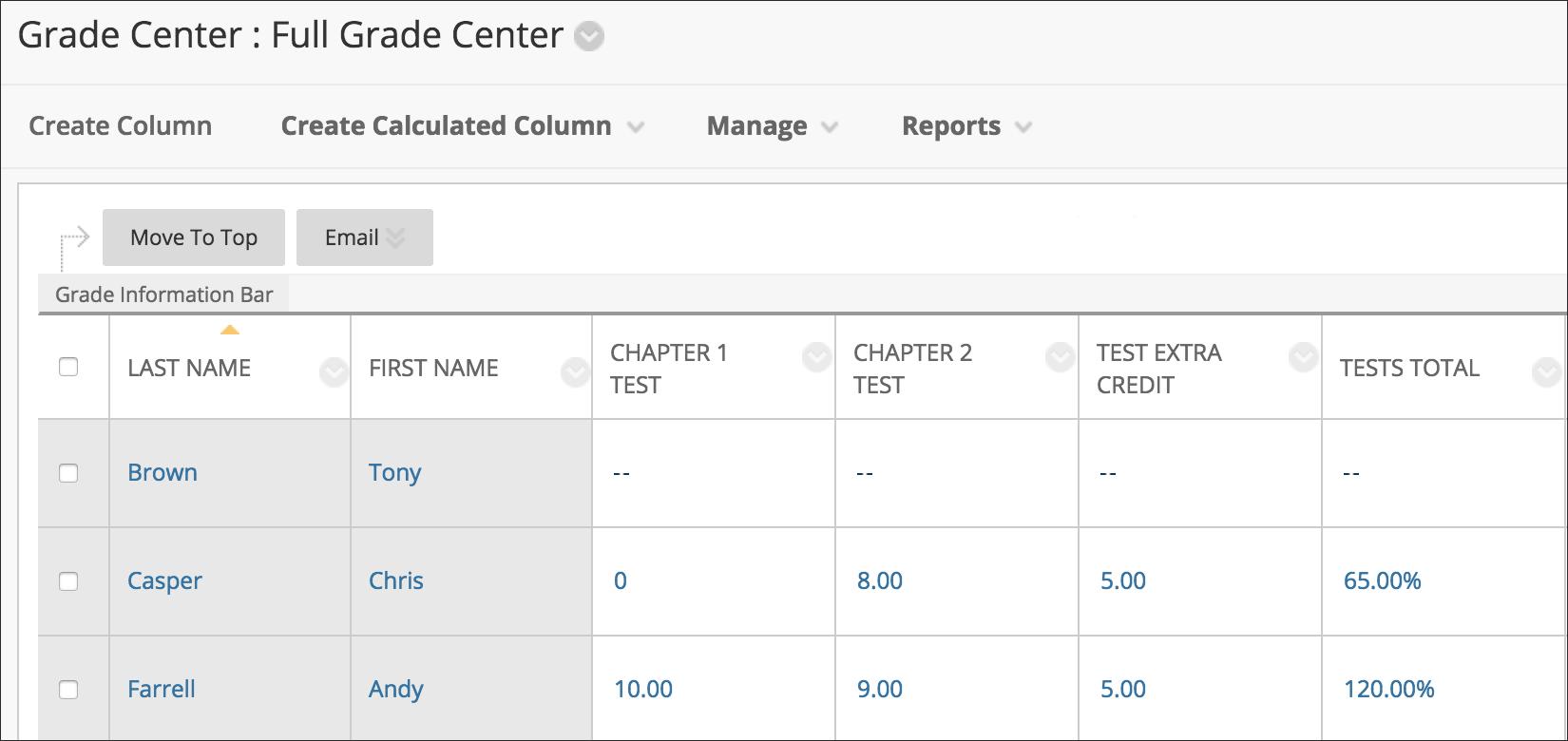extra credit columns blackboard help