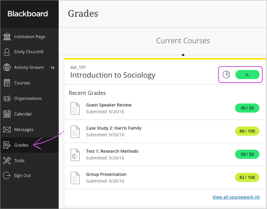 623a98987e7 Your grades are organized by course and term in alphabetical order. Select  any item in any course to view details.