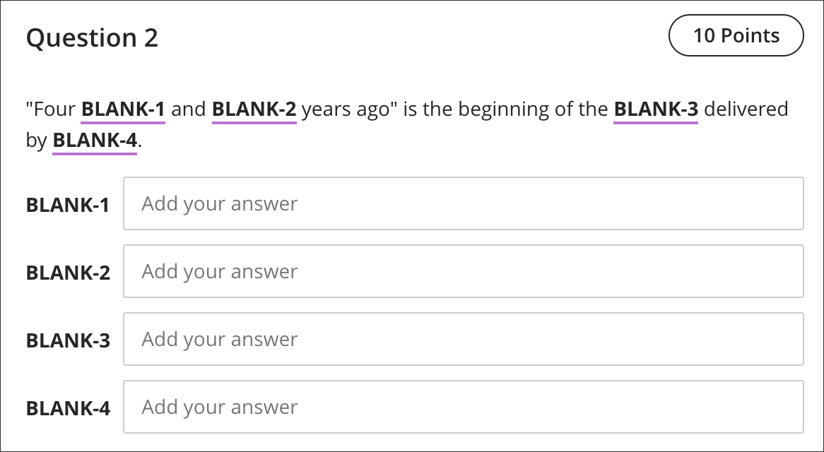Fill in Multiple Blanks Questions | Blackboard Help