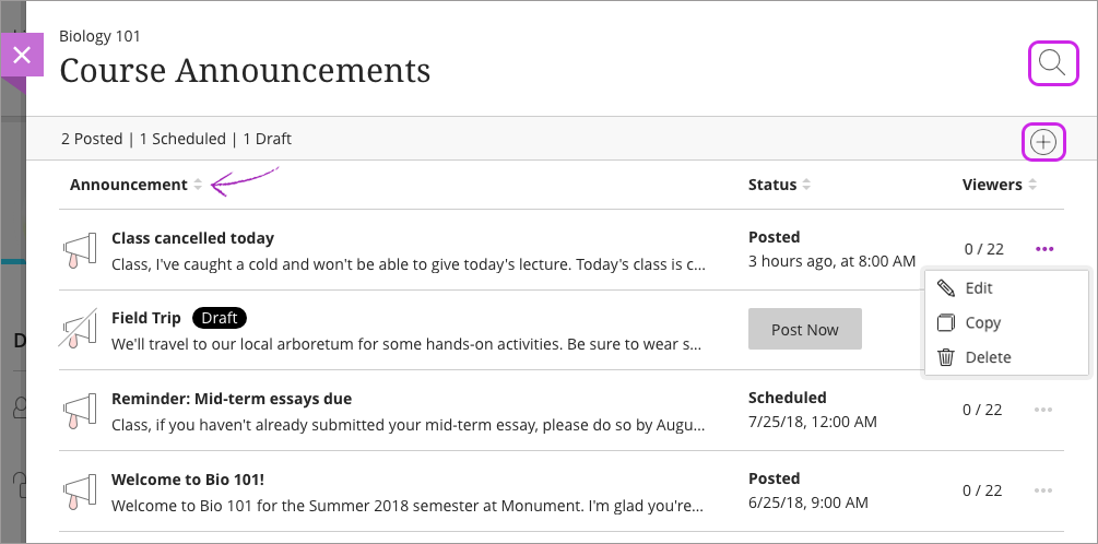 Announcements | Blackboard Help
