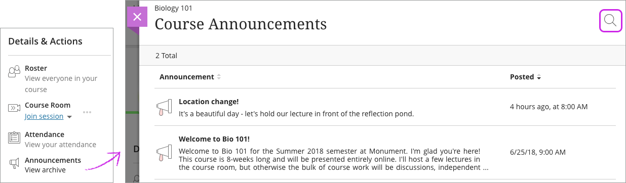 announcements blackboard help