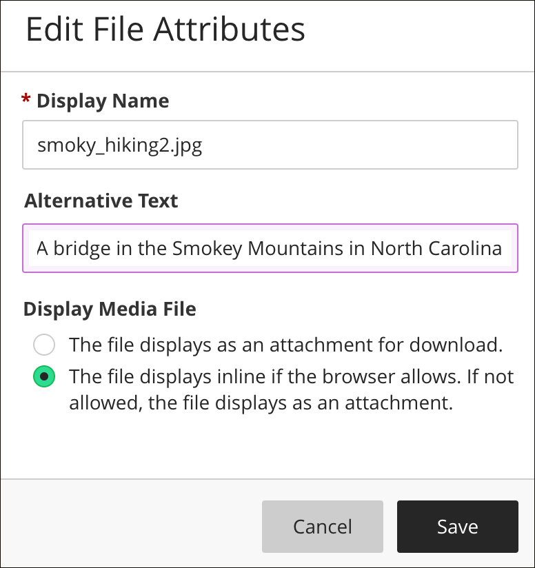 To Edit The Files Alternative Text Or Display Behavior Select File In Editor And Then Attachment Icon