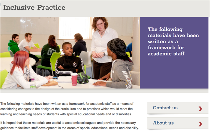 "Screen shot from ""Inclusive Practice"" support page"