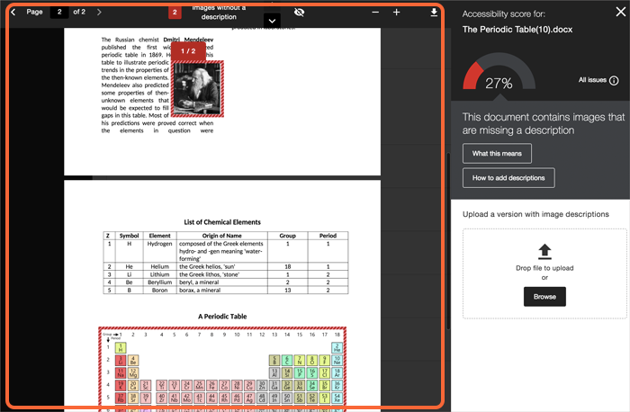 Sample Instructor Feedback Panel showing several images highlighted within the preview. A 27% accessibility score and and All Issues button in the top right hand box and a description of the errors including the words 'This document contains images that are missing a description' There are two buttons beneath labelled 'What this means' and 'How to add descriptions'. There is an upload space below.