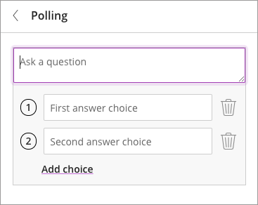 New Polling popup for moderators, with a custom field to add a question and the text of each of the multiple choice answers.