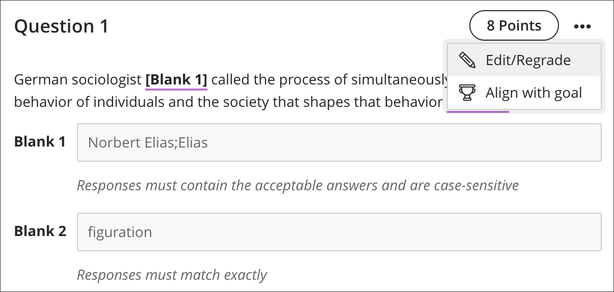 Fill in the Blank Questions | Blackboard Help